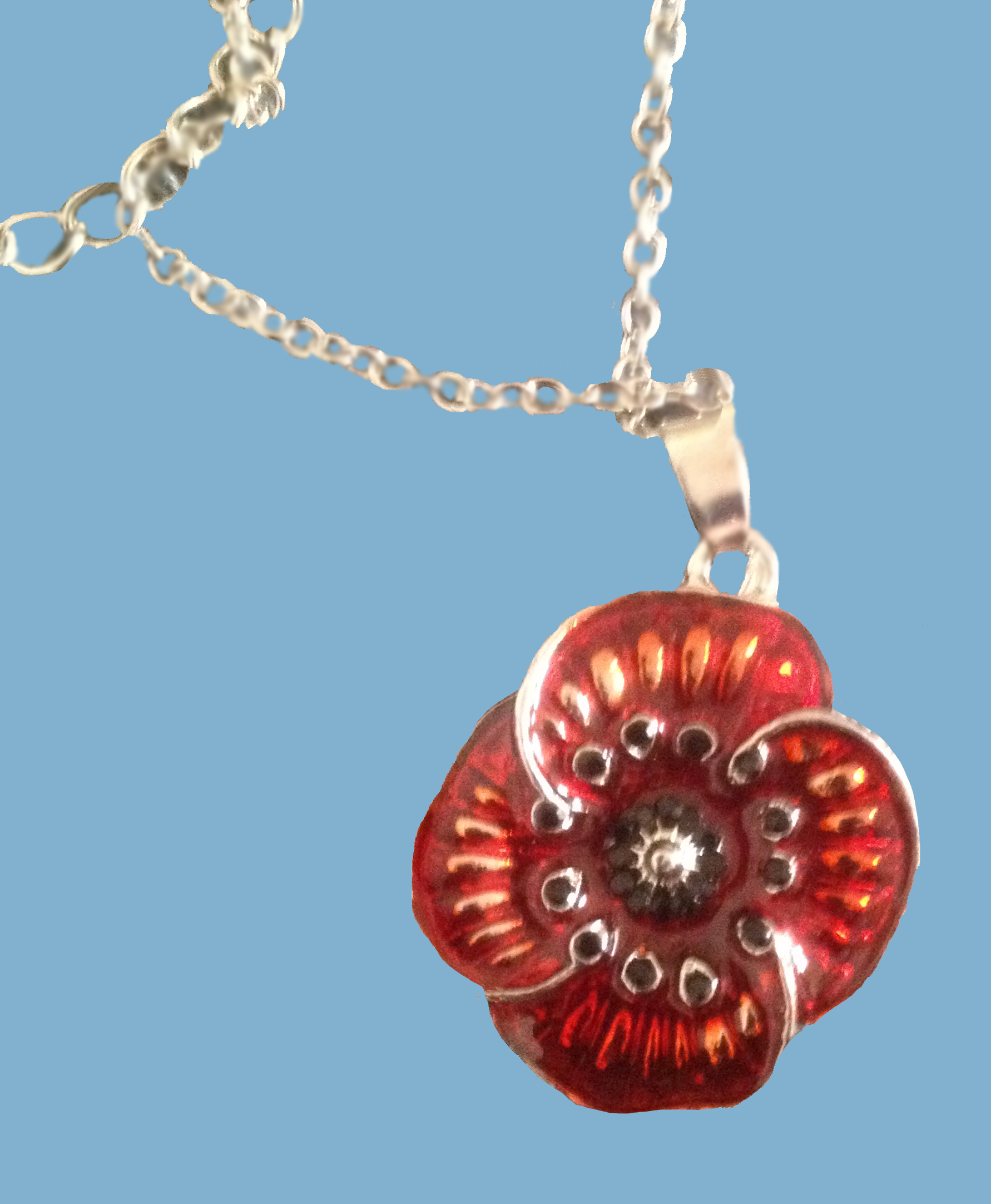 615a poppy pendant 18 chain